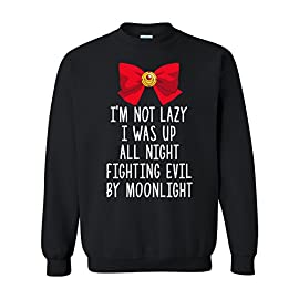 I'm Not Lazy, I was Fighting Evil by Moonlight - Funny Anime Manga Sweatshirt 22 Exclusive sweatshirt from Underground Printing, Printed and Designed in the USA. Unisex fit that's Perfect for Men and Women. Great addition to any wardrobe. Products include an official UGP Hang tag or sticker and are produced by Underground Printing. Any product not containing this tag is counterfeit. Show off in this funny sweatshirt and let everyone know that you were fighting evil by moonlight! Machine washable (We suggest you wash inside out for a longer lasting print). Great for Christmas gifts, birthdays or just to treat yourself to a great graphic sweatshirt. Perfect for Anime and Manga fans who remember the iconic theme song!