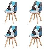 INJOY LIFE - Set di 4 sedie moderne patchwork con gambe in legno massello e seduta imbottita morbida per cucina, soggiorno, ufficio, colore: blu