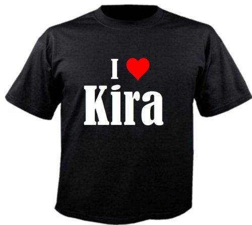 Kinder T-Shirt I Love Kira Größe 104 Farbe Schwarz Druck Weiss