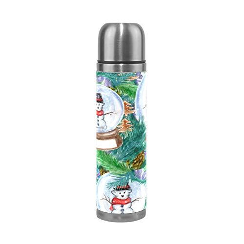 Ahomy doppelwandige Vakuumbecher, Weihnachtsbaum, Äste, Schneemann, Ratte, Globus, Edelstahl, isoliert, Reise-Kaffeebecher, Sport-Wasserflasche 0,5 l