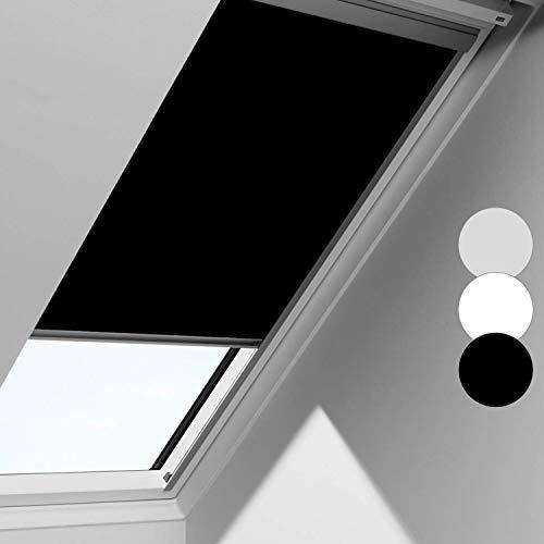 Wolketon Schwarz Verdunkelungsrollo Dachfensterrollo passend für M08, Dachfester/verdunkelndes Rollo, Blickdicht Thermo-Rollo für Fenster Skylight/Kinderzimmer/Schlafzimmer/Küche/Bad/Büro
