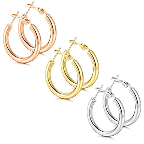 LOLIAS 3 Pairs Thick Gold Hoop Earrings for Women 14K Gold Plated Chunky Hollow Hoops Minimalist Lightweight Fashion Earring Jewelry,20-50mm
