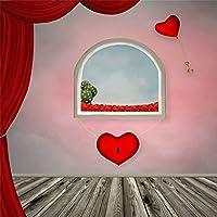 Qinunipoto 背景布 撮影用 背景 写真スタジオ 写真を撮る バレンタインデー背景 撮影背景ポスター 漫画ウィンドウ ハートバルーン 写真を撮る恋人 バックドロップ写真撮影用 背景シート ビニール 3m x 3m