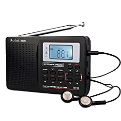 Retekess V111 Portable AM FM Shortwave Radio Alarm Clock Battery Operated AA Battery with Earphones Jack Sleep Timer for Travel(Black)