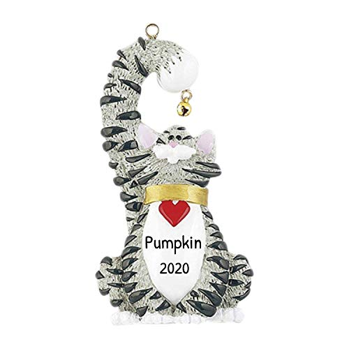 Personalized Grey Cat Christmas Tree Ornament 2020 - Kitty Heart Collar Hold Real Bell Breed Neutral Purr Friend Fur-Ever Aww Chartreux British Nebelung Korat Gift Year - Free Customization (Grey)