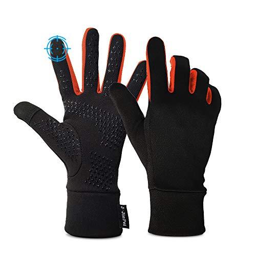 Sport Running Gloves with Touch Screen, Anti-Slip Mittens Liners Women Men with Elastic Cuff Climbing Lightweight Gloves ,Skiing ,Biking, Driving, Hiking Outdoor Sports (Orange -XL)
