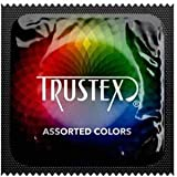 Trustex Color Sensations + Brass Lunamax Pocket Case, Assorted Colored Lubricated Latex Condoms-24 Count