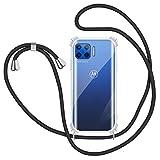 Funda con Cuerda para Motorola Moto G 5G Plus, Carcasa Transparente Silicona Suave TPU Case con Correa Colgante Ajustable Collar Correa de Cuello Cadena Cordón para Motorola Moto G 5G Plus, Negro