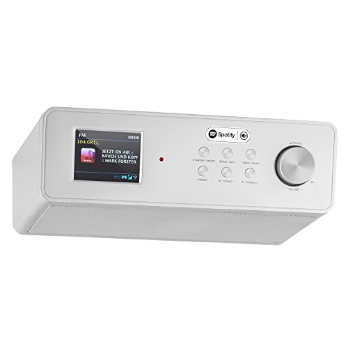 auna KR-200 - Küchenradio, Unterbauradio, DAB/DAB+ Tuner, UKW-Empfänger, Spotify Connect, 10 Senderspeicher, WiFi, AUX, Equalizer, Dual-Alarm, Schlummerfunktion, Fernbedienung, Silber