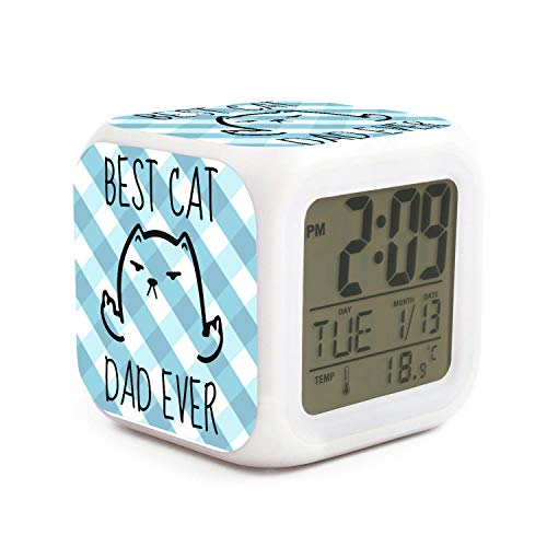 XIANGXIXI0 Best Cat Dad Ever Badass Face4 Night Light Alarm Clock for Old Man Digital Alarm Clock with Rechargeable Battery Office Children's Alarm Clock Indoor Thermometer