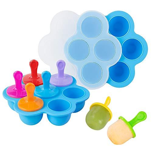 Webake Baby Food Gefrierschalen mit Deckel, Silikon Eiswürfel Popsicle Formen mit 7 Ice Pop Sticks, Egg Bites Formen für Instant Pot Zubehör 5,6,8 qt Schnellkochtopf