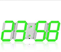 LED電子壁時計、デジタル3D LED目覚まし時計24 12時間表示プラスチック目覚まし時計スヌーズ時計の明るさ自動調整、Mute (色:黒赤文字) (Color : White Green Letter)
