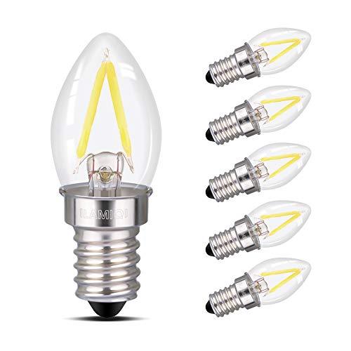 ILAMIQI Bombillas LED de luz nocturna,mini luz LED, bombilla de filamento LED C7 2W Edison, 10W incandescente de repuesto, 230V, base E14, luz blanca de día 6000 K (6 unidades)