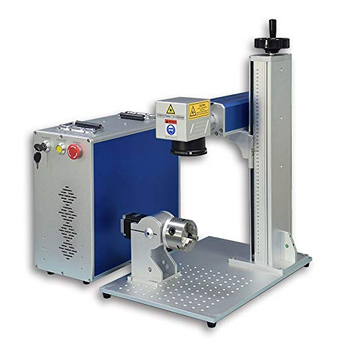 30W JPT Fiber Laser Marking Machine 80MM Rotary Axis,Engraving Area 175×175mm