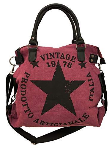 James tyle26Star Bag Vintage Estrella Mujer Stamp Fashion Shopper–Bolso de tela, color Gris, talla Maße: L: 45cm H: 42cm B: 18cm