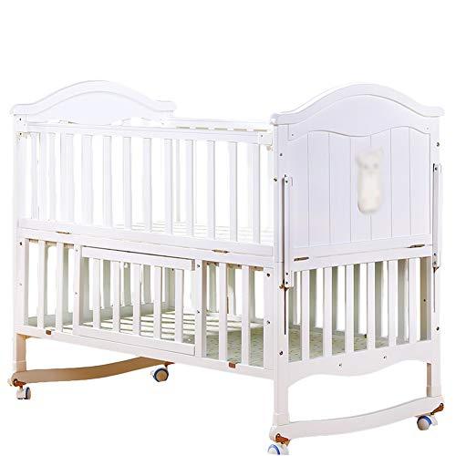 Zatnec Cuna De Madera Cuna para Bebé,Altura Regulable,Natural Sin Tratamientos,3 Niveles De Ajuste, Montaje Fácil Y Rápido, para Niños