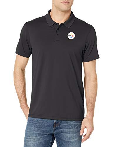 OTS NFL Herren Sueded Short Sleeve Polo Shirt, Herren, NFL Men's Sueded Short Sleeve Polo Shirt, Jet Black, Large