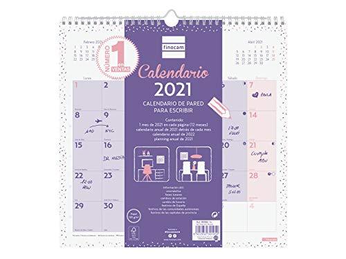 Finocam Pared Escribir Chic - Calendario de pared 2021 Escribir Chic Morado Español
