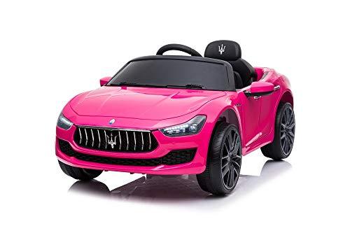 Tecnobike Shop Auto Elettrica per Bambini Macchina Maserati Ghibli Motore 12V Fari LED Funzionanti Luci Suoni Lettore MP3 Cavo AUX Telecomando Controllo a Distanza - Rosa