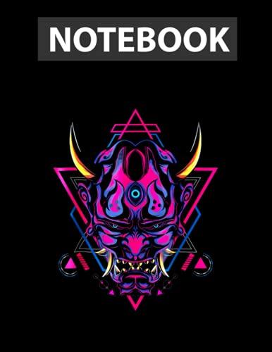 Samurai Demon Oni Akuma Mask Bushido Spirit Japanese / Notebook CollegeRuled Line / Large 8.5''x11''