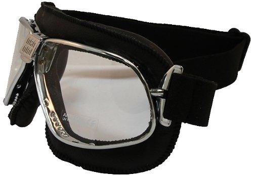 Nannini Cruiser - Occhiali anti-appannamento in pelle (montatura nera/lente trasparente)