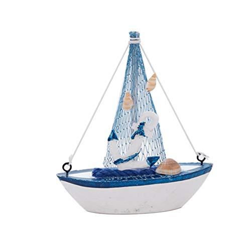 VOSAREA Holz Segelboote Modell mit Fischernetz Anker Muschel Nautische Maritime Deko Home Ornament Tisch Deko