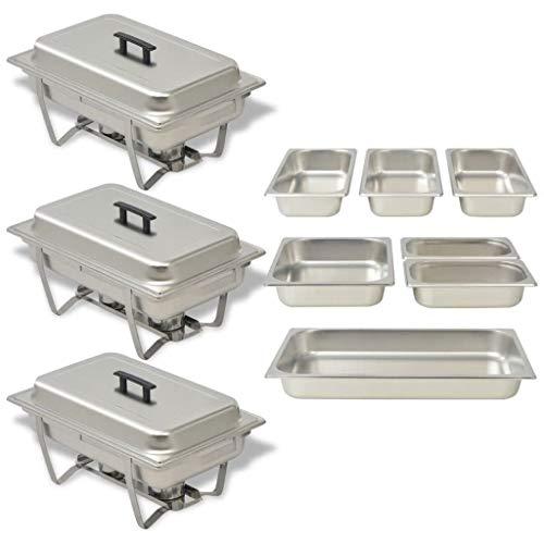E E-NICES Chafing Dish Set 3-TLG. Edelstahl