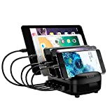 Charging Station for Multiple Devices Fast USB Charging Dock Station Organizer with USB Ports for iPhone, iPad, Samsung, Android Phone, Tablet (ETL Certified) (5 Charging Cables Included)