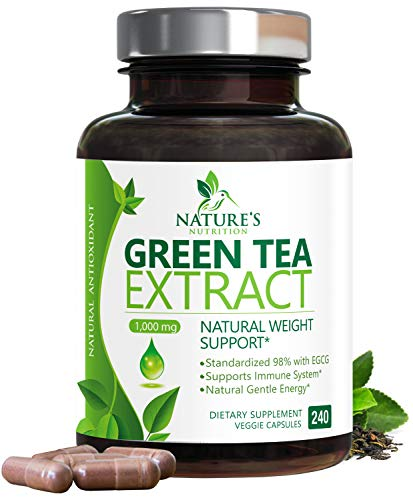 Green Tea Extract 98% Standardized Egcg for Healthy Weight Support 1000mg - Supports Healthy Heart, Metabolism & Energy with Polyphenols - Gentle Caffeine, Made in USA - 240 Capsules