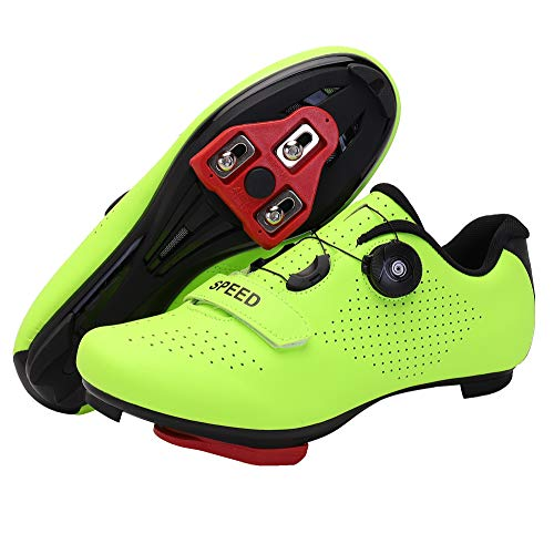 Men's Cycling Shoes, Compatible with Indoor Peloton Mountain Road Bike Peleton SPD Shoes for Men Delta Cleats Clip to Lock Shimano Pedal (Green, 8.5)