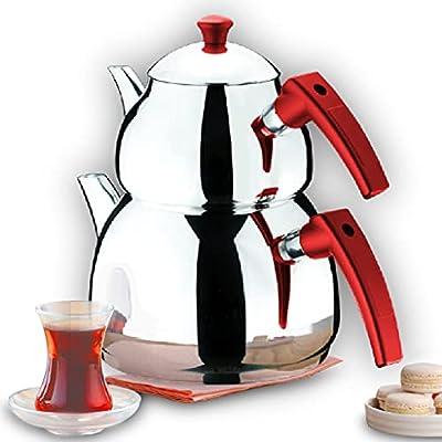 Turkish Tea Pots Set for Stove Top, Stainless Steel Double Teapot Set with Bakalite Handle, Samovar Style Self-Strained Tea Kettle Medium 2.8 qts