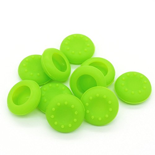 Qingsun 5 Pair/10 Pcs Replacement Silicone Analog Joystick Thumb Stick Grips Cap Cover for PS3 / PS4 / Xbox 360 / Xbox One/Wii Game Controllers (Green)