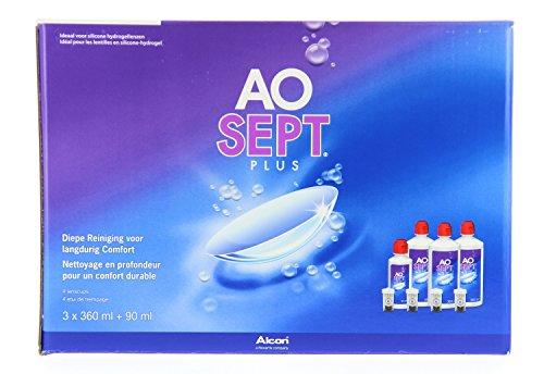 Aosept® Plus Pflegemittel für Kontaktlinsen–Pack mit 3Flaschen, 360°ml + 1Flasche, 90°ml