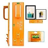 Picture Hanging Kit, Picture Frame Hanger Tool (Picture Hanging Ruler),Easy Frame Tool for Marking Position, Hooks, Nails and Hanger Level (Orange)