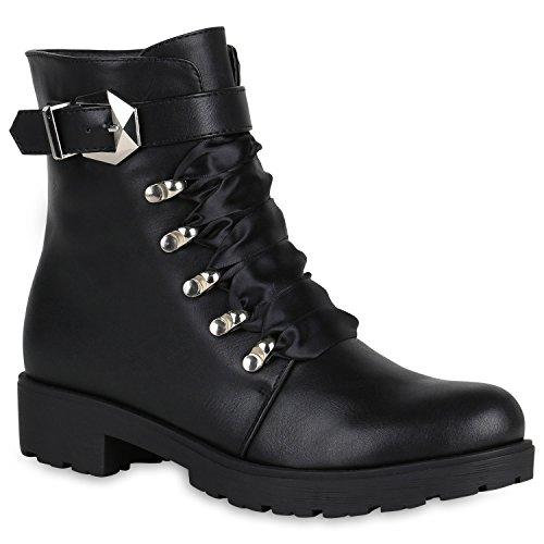 Damen Stiefeletten Satin-Optik Plateau Boots Schnallen Blockabsatz 148676 Schwarz Satinoptik Avelar...
