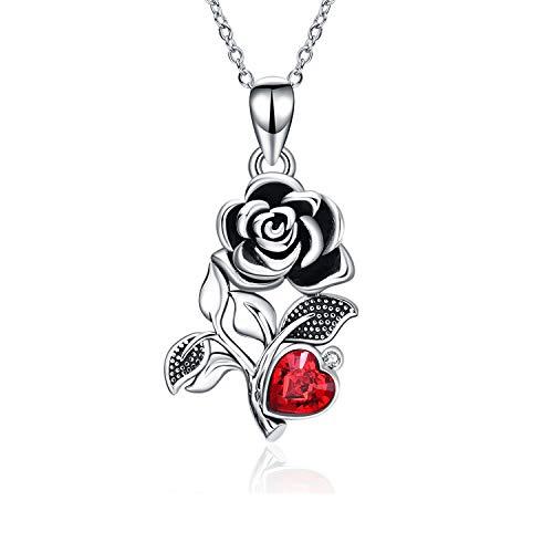 Halskette aus Sterlingsilber für Mädchen, Rosen-Blumen-Halsketten mit roten Kristallen von Österreich, schwarze Rosen, Schmuck für Ehefrau, Freundin, Geburtstag,...