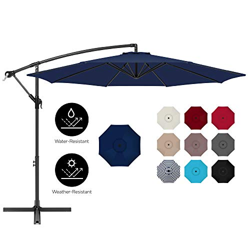 Best Choice Products 10ft Offset Hanging Outdoor Market Patio Umbrella w/Easy Tilt Adjustment - Navy Blue
