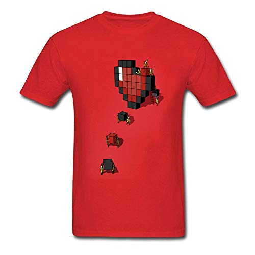 Pixel Heart T-Shirt Lovers T Shirt Custom Men 3D Cartoon Tshirt Geometric Heart Movers Red Tops Cotton Tees Valentines Day Gift Red 3XL