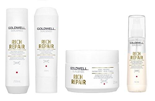 Goldwell Dualsenses - Champú de reparación rica de 250 ml, acondicionador de 200 ml, tratamiento de 60 secciones, 200 ml, spray de suero de 150 ml