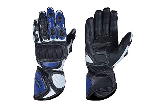 MBSmoto MBG25 Sports Rider - Guantes largos de piel para motocicleta, azul, extra-small