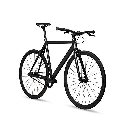 6KU Aluminum Fixed Gear Single-Speed Fixie Urban Track Bike, Shadow Black, 55cm/M