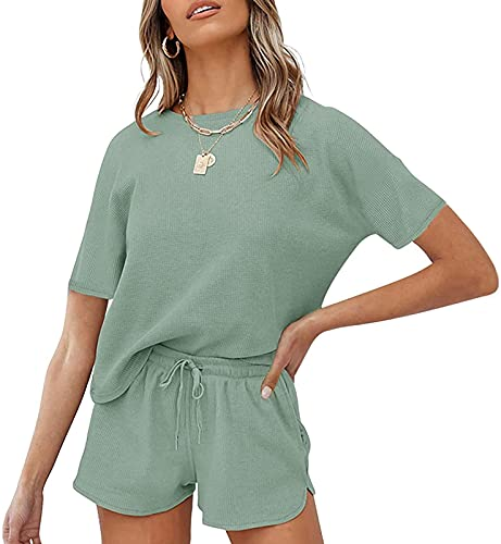 MEROKEETY Women's Short Sleeve Waffle Pajama Sets Lounge Top and Shorts 2 Piece Tracksuit Outfits, ShortGreen, L