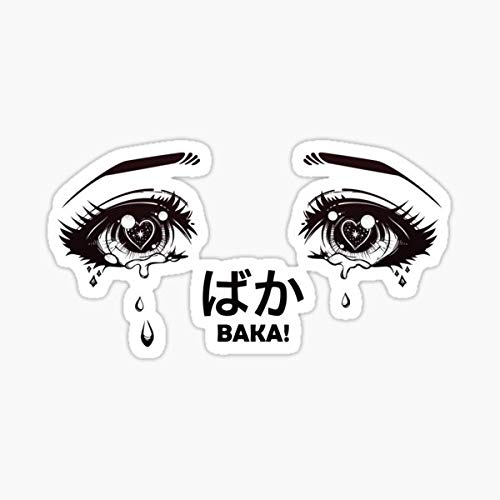 Crying Eyes from Manga or Anime Shouting Baka! Sticker - Sticker Graphic - Auto, Wall, Laptop, Cell, Truck Sticker for Windows, Cars, Trucks
