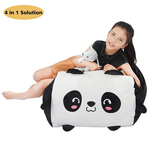 Panda Stuffed Animal Bean Bag Toy Storage,Large Size Stuffie Organization 24x24 Inch Velvet...