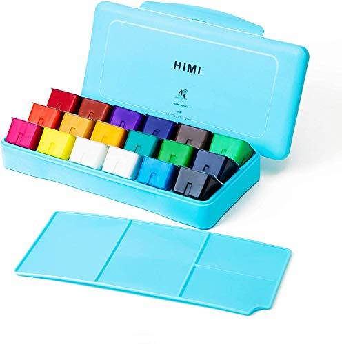 Conjunto de tinta HIMI Gouache, 18 cores x 30 ml, design exclusivo de xícara de gelatina, capa portátil com paleta para artistas, estudantes, pintura de aquarela opaca Gouache, Azul, 1