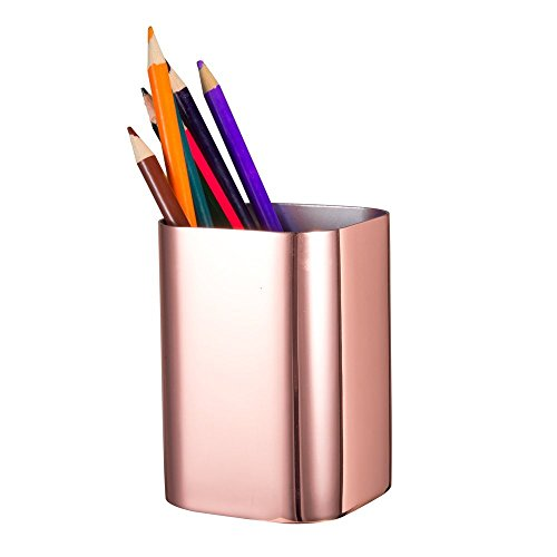 IMEEA Pen Pencil Holder Makeup Brush Holder 1.2mm Thick Heavy Duty SUS304 Mirror Finish Stainless Steel (Rose Gold)