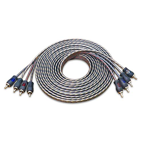 Recoil 100% Oxygen Free Copper 17ft 4 Channel RCA Audio Cable Twisted Pair with Noise Reduction