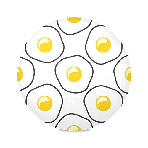 Juego de 4 manteles individuales redondos para niña Huevos fritos Deliciosos manteles individuales de cocina para el desayuno Estera de café lavable 15.4 pulgadas Fácil de limpiar para cocina Mesa de