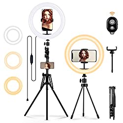 MOHOO Ringleuchte Licht, Ringlicht mit 2er Stativ-Außen Live Stream 3000-6000K dimmbare LED Ringlicht Lampenstativ Bluetooth-Empfänger 10 Zoll 3 Farbe 10 Helligkeit für YouTube Tiktok Selfie Makeup