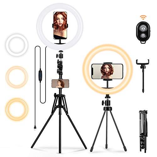 MOHOO Ringleuchte Licht Set,mit 2er Stativ- Außen Live Stream 3000-6000K dimmbare LED-Ringlicht Lampenstativ Bluetooth-Empfänger 10 Zoll 3 Farbe 10 Helligkeit für YouTube Tiktok Selfie oder Makeup